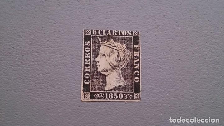 ESPAÑA - 1850 - ISABEL II - EDIFIL 1 - MH* - NUEVO - AUTENTICO - PAPEL GRUESO - VALOR CATALOGO 700€. (Sellos - España - Isabel II de 1.850 a 1.869 - Nuevos)