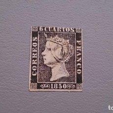 Sellos: ESPAÑA - 1850 - ISABEL II - EDIFIL 1 - MH* - NUEVO - AUTENTICO - PAPEL GRUESO - VALOR CATALOGO 700€.. Lote 171192022