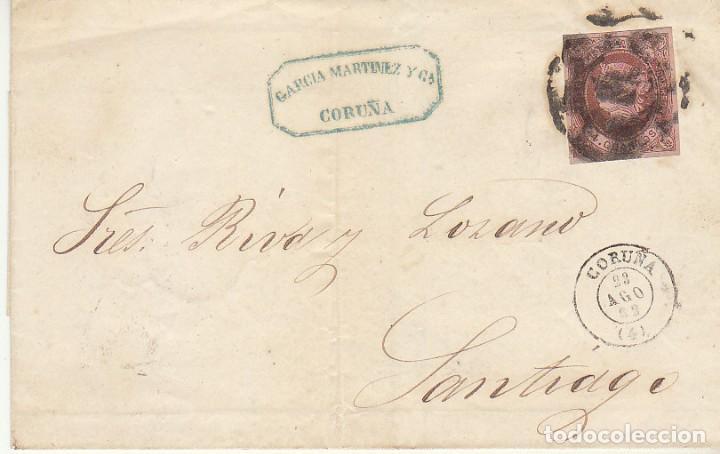 ENVUELTA : SELLO 58. ISABEL II. CORUÑA A SANTIAGO. 1862. (Sellos - España - Isabel II de 1.850 a 1.869 - Cartas)