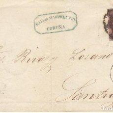 Sellos: ENVUELTA : SELLO 58. ISABEL II. CORUÑA A SANTIAGO. 1862.. Lote 171358814