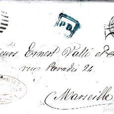 Sellos: CARTA COMPLETA CON NUM-89 DE JOSE ECHAUZ EN BARCELONA -1867 DESTINO FRANCIA -VARIOS MATASELLOS. Lote 171770164