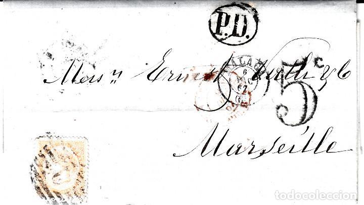 CARTA COMPLETA CON NUM-89 DE HERNANDEZ EN MALAGA -1867 DESTINO FRANCIA -VARIOS MATASELLOS (Sellos - España - Isabel II de 1.850 a 1.869 - Cartas)