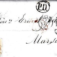 Sellos: CARTA COMPLETA CON NUM-89 DE HERNANDEZ EN MALAGA -1867 DESTINO FRANCIA -VARIOS MATASELLOS. Lote 171770364