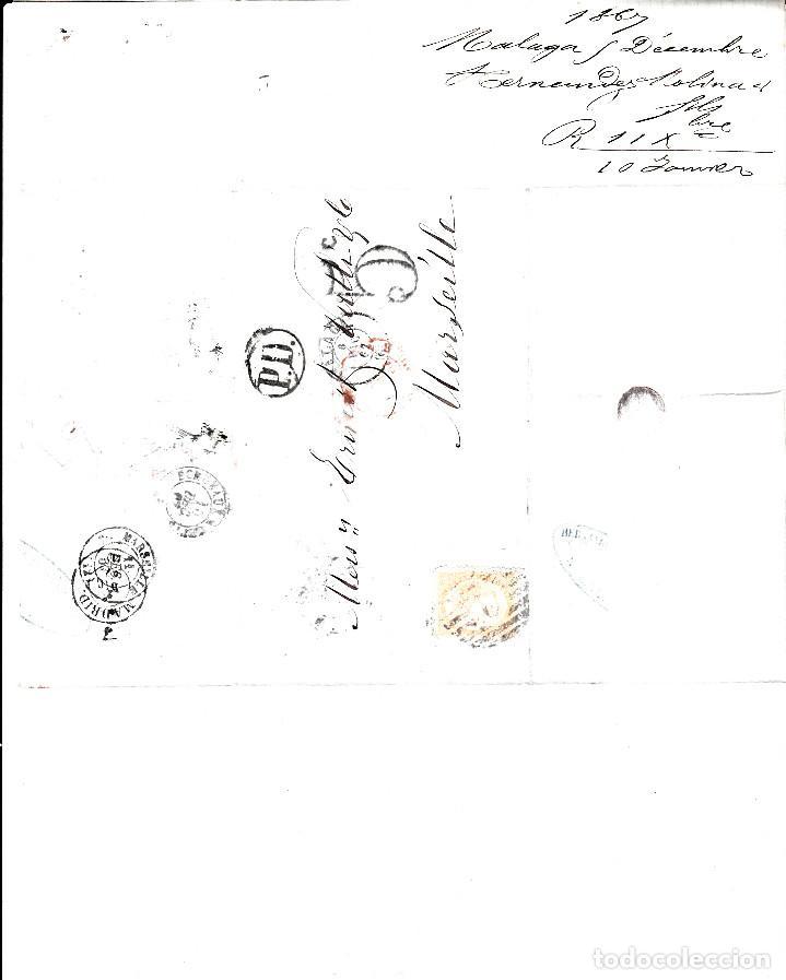 Sellos: CARTA COMPLETA CON NUM-89 DE HERNANDEZ EN MALAGA -1867 DESTINO FRANCIA -VARIOS MATASELLOS - Foto 3 - 171770364