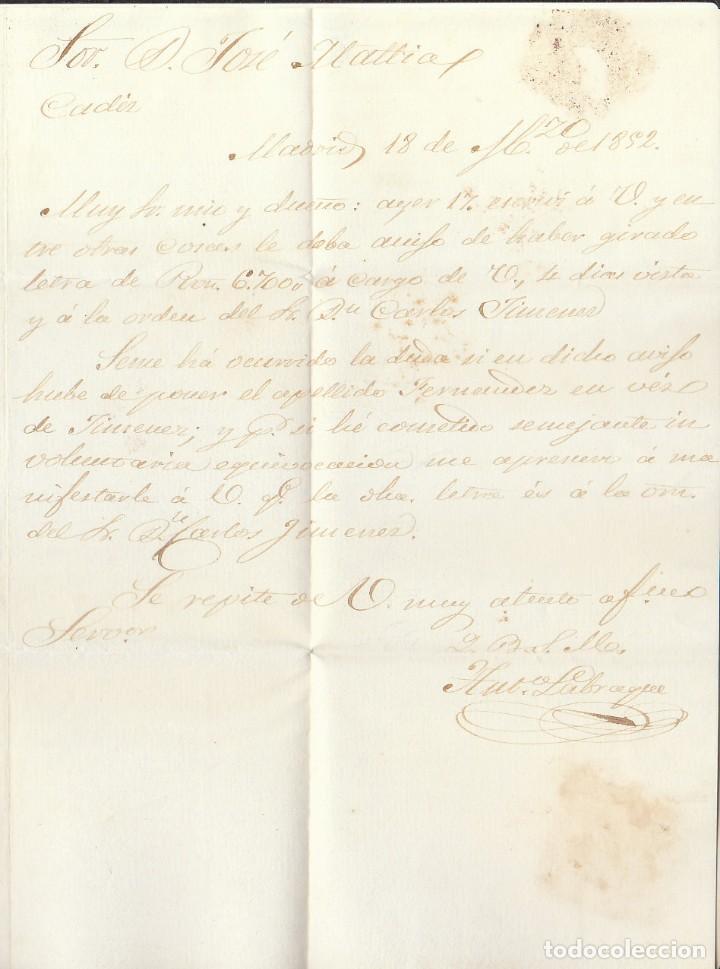 Sellos: Sello 12. ISABEL II. MADRID a CADIZ. 1852. - Foto 3 - 172002750