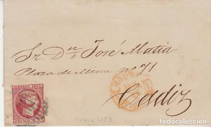SELLO 17. ISABEL II.MADRID A CADIZ.1853. (Sellos - España - Isabel II de 1.850 a 1.869 - Cartas)