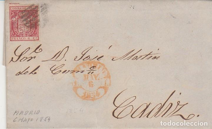 SELLO 24. ESCUDO DE ESPAÑA. MADRID A CADIZ.1854. (Sellos - España - Isabel II de 1.850 a 1.869 - Cartas)