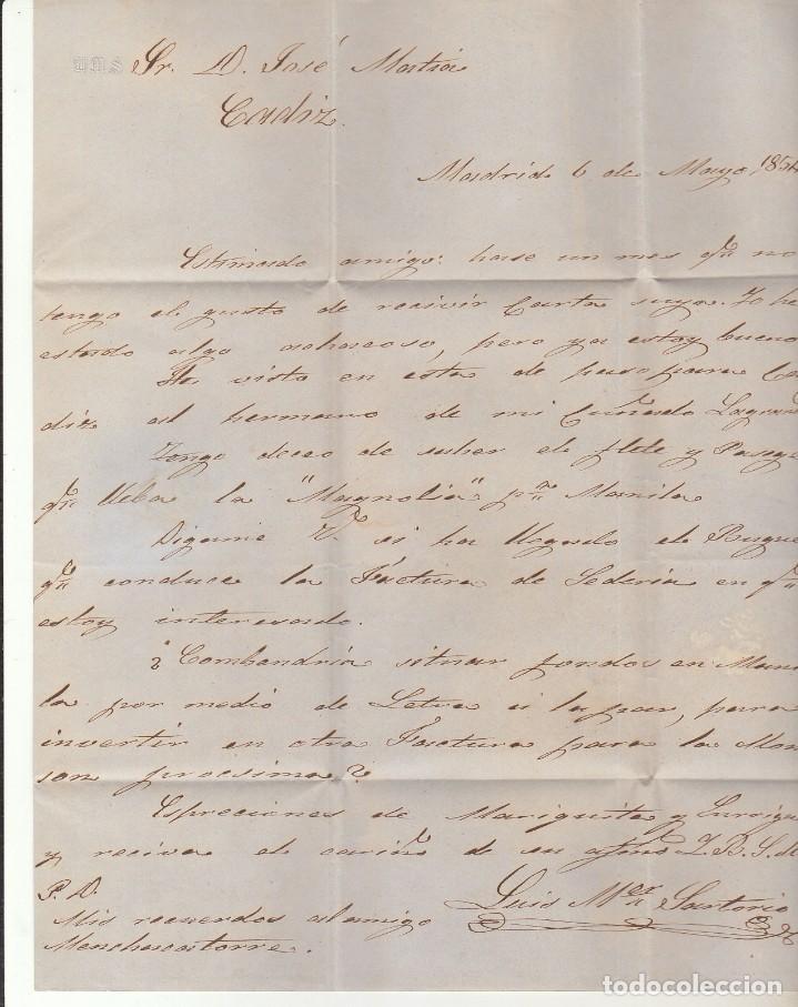 Sellos: Sello 24. ESCUDO DE ESPAÑA. MADRID a CADIZ.1854. - Foto 3 - 172006535