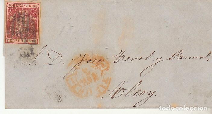 ENVUELTA : SELLO 24. ESCUDO DE ESPAÑA. MADRID A ALCOY. 1854. (Sellos - España - Isabel II de 1.850 a 1.869 - Cartas)