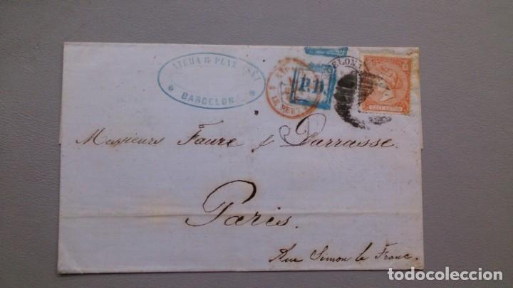 CARTA ISABEL II - EDIFIL 82 - BARCELONA A PARIS - 7 ABRIL 1866 - DIVERSAS MARCAS POSTALES - LUJO. (Sellos - España - Isabel II de 1.850 a 1.869 - Cartas)