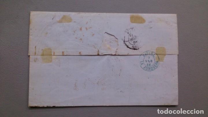 Sellos: CARTA ISABEL II - EDIFIL 82 - BARCELONA A PARIS - 7 ABRIL 1866 - DIVERSAS MARCAS POSTALES - LUJO. - Foto 2 - 172177254