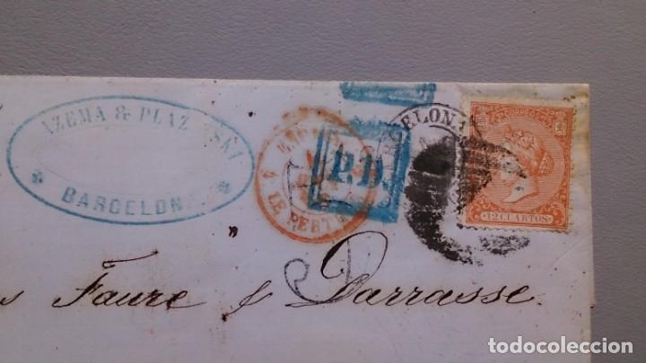Sellos: CARTA ISABEL II - EDIFIL 82 - BARCELONA A PARIS - 7 ABRIL 1866 - DIVERSAS MARCAS POSTALES - LUJO. - Foto 3 - 172177254