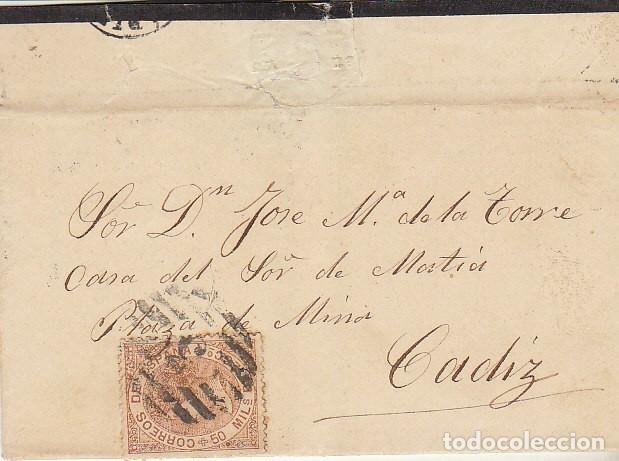 LUTO: SELLO 96. ISABEL II. PUERTO REAL A CADIZ. 1867. (Sellos - España - Isabel II de 1.850 a 1.869 - Cartas)