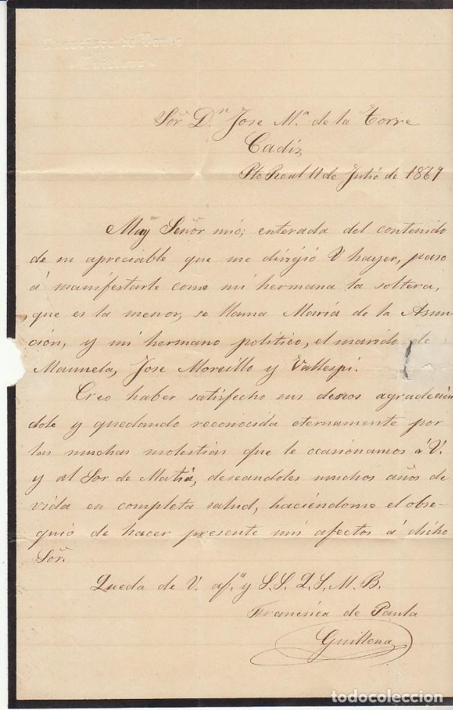 Sellos: LUTO: Sello 96. Isabel II. PUERTO REAL a CADIZ. 1867. - Foto 3 - 172236312