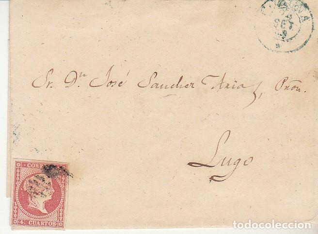 FRAGMENTO: SELLO 48-B. ISABEL II. CORUÑA A LUGO. 1859. (Sellos - España - Isabel II de 1.850 a 1.869 - Cartas)