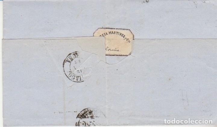 Sellos: ENVUELTA : sello 58.ISABEII. CORUÑA a SANTIAGO. 1863. - Foto 2 - 172239302