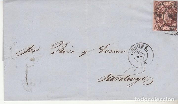 ENVUELTA : SELLO 58.ISABEII. CORUÑA A SANTIAGO. 1863. (Sellos - España - Isabel II de 1.850 a 1.869 - Cartas)
