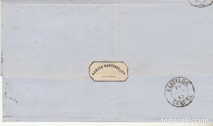 Sellos: ENVUELTA : sello 58.ISABEII. CORUÑA a SANTIAGO. 1863. - Foto 2 - 172239610