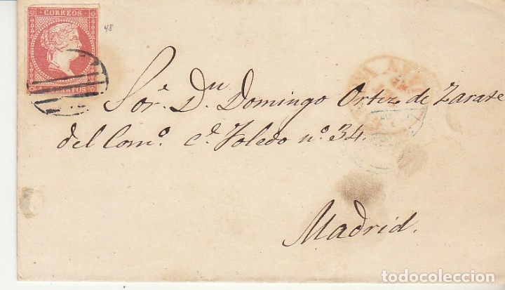FRAGMENTO :SELLO 48. ISABEL II. A MADRID. 1856. (Sellos - España - Isabel II de 1.850 a 1.869 - Cartas)
