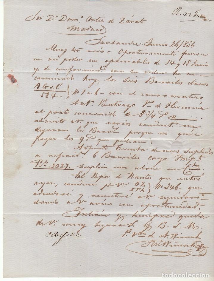 Sellos: Sello 48. ISABEL II . SANTANDER a MADRID . 1856. - Foto 3 - 172405324