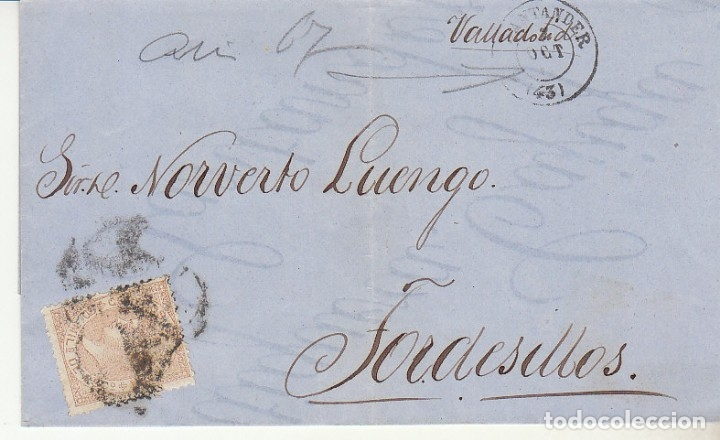 ENVUELTA : SELLO 96. ISABEL II. SANTANDER A TORDESILLAS. 1867. (Sellos - España - Isabel II de 1.850 a 1.869 - Cartas)