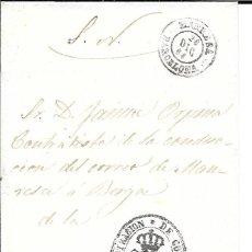 Sellos: CATALUÑA. HISTORIA DEL CORREO. ENVUELTA DEL SERVICIO OFICIAL MANRESA 1864. Lote 172637464