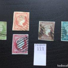 Sellos: SERIE 1855 EDIFIL 39 A 42 MATASELLOS PARRILLA VARIACIÓN PAPEL AZUL CATÁLOGO 200€. Lote 172639938
