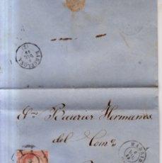 Sellos: AÑO 1856 EDIFIL 48 ISABEL II CARTA MATASELLOS RUEDA DE CARRETA 1 MADRID MEMBRETE DE FRANCISCO XATART. Lote 172649717