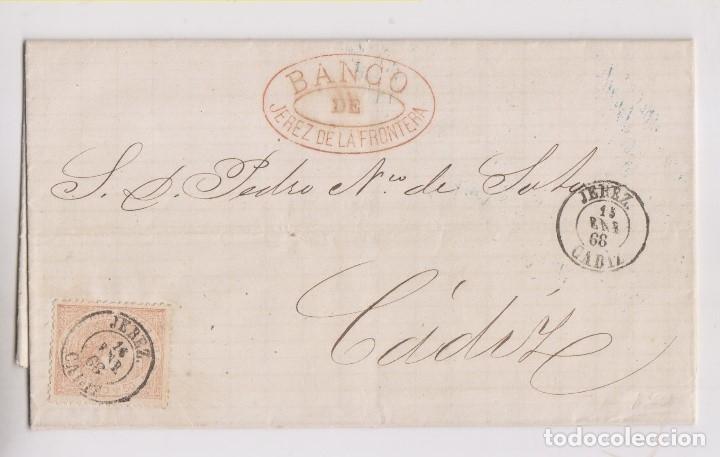 CARTA ENTERA DEL BANCO DE JEREZ DE LA FRONTERA, CÁDIZ. 1868 (Sellos - España - Isabel II de 1.850 a 1.869 - Cartas)
