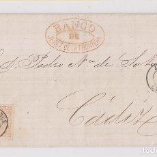 Sellos: CARTA ENTERA DEL BANCO DE JEREZ DE LA FRONTERA, CÁDIZ. 1868. Lote 172724193
