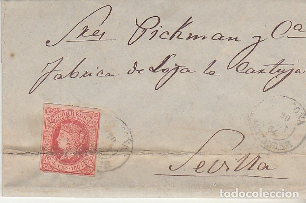 SELLO 64. ISABEL II. SANTOÑA A SEVILLA.1864. (Sellos - España - Isabel II de 1.850 a 1.869 - Cartas)