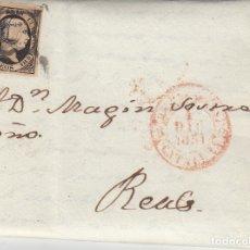 Sellos: CARTA COMPLETA CON SELLO NUM. 6 -1851 DE BARCELONA CON DESTINO REUS. Lote 172901787