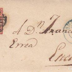 Sellos: ENVUELTA CON SELLO NUM 33A DE PAMPLONA A ESTELLA -1854- CON FECHADOR AZUL Y PARRILLA. Lote 172902234
