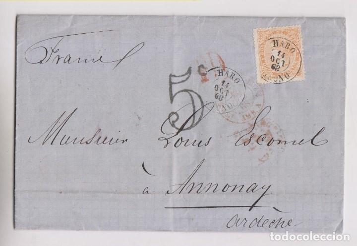 CARTA ENTERA. HARO, RIOJA, 1868, LUJO. VER DORSO AMBULANTE A FRANCIA (Sellos - España - Isabel II de 1.850 a 1.869 - Cartas)