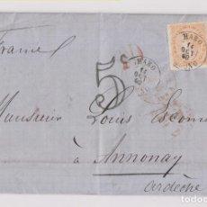 Sellos: CARTA ENTERA. HARO, RIOJA, 1868, LUJO. VER DORSO AMBULANTE A FRANCIA. Lote 173029702