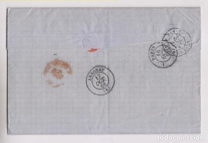Sellos: CARTA ENTERA. HARO, RIOJA, 1868, LUJO. VER DORSO AMBULANTE A FRANCIA - Foto 2 - 173029702