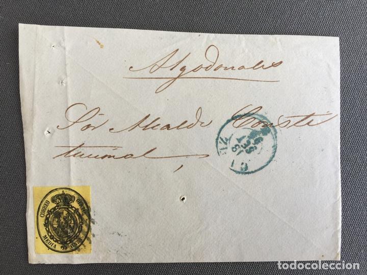 Sellos: LOTE DE 2 FRONTALES DE CARTAS SOBRES DE ALGODONALES , CADIZ 1854 , AL SR. ALCALDE - Foto 2 - 173060538