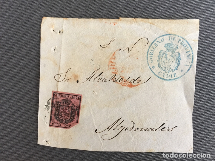 LOTE DE 2 FRONTALES DE CARTAS SOBRES DE ALGODONALES , CADIZ 1854 , AL SR. ALCALDE (Sellos - España - Isabel II de 1.850 a 1.869 - Cartas)