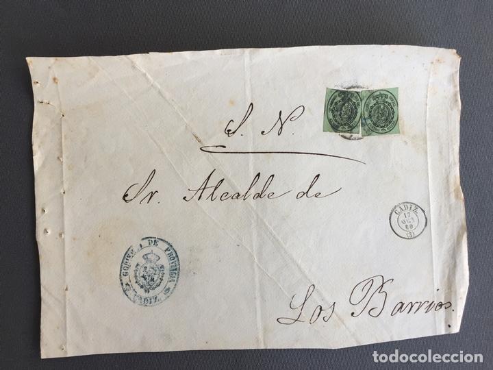 Sellos: LOTE DE 3 FRONTALES DE CARTAS SOBRES DE LOS BARRIOS , CADIZ 1860 - 1861 , AL SR. ALCALDE - Foto 3 - 173065260