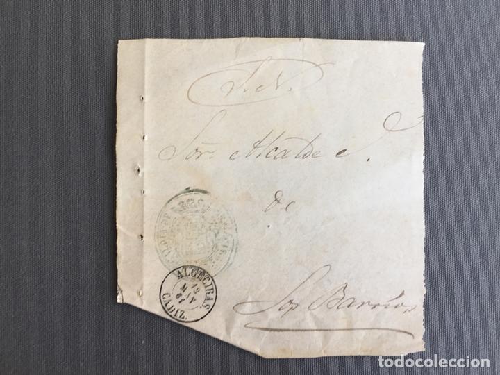 LOTE DE 3 FRONTALES DE CARTAS SOBRES DE LOS BARRIOS , CADIZ 1860 - 1861 , AL SR. ALCALDE (Sellos - España - Isabel II de 1.850 a 1.869 - Cartas)