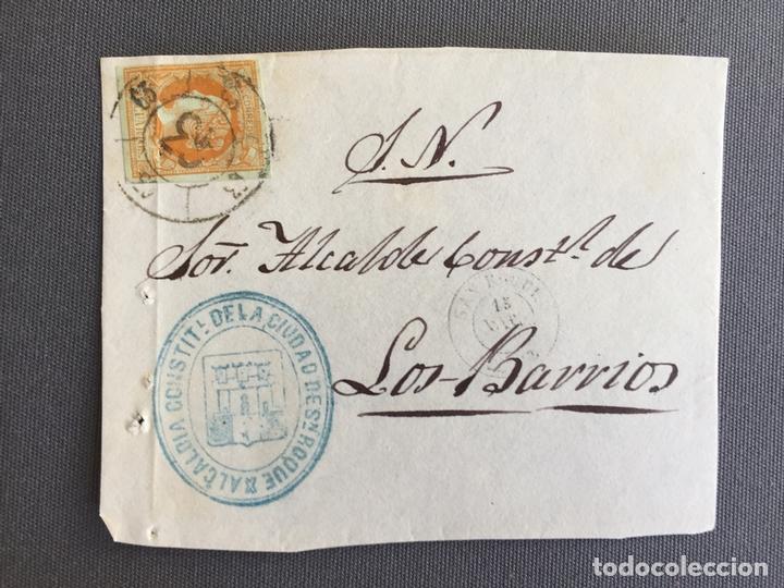 Sellos: LOTE DE 3 FRONTALES DE CARTAS SOBRES DE LOS BARRIOS , CADIZ 1862 - 1861 , AL SR. ALCALDE - Foto 2 - 173065328