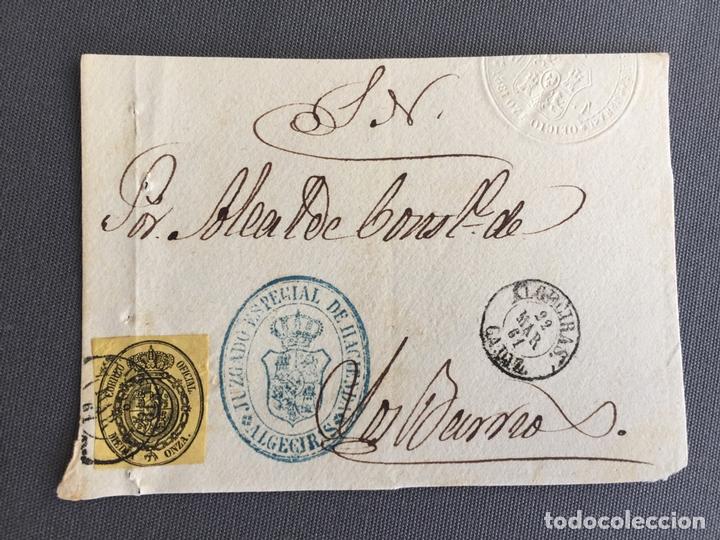 Sellos: LOTE DE 3 FRONTALES DE CARTAS SOBRES DE LOS BARRIOS , CADIZ 1862 - 1861 , AL SR. ALCALDE - Foto 3 - 173065328