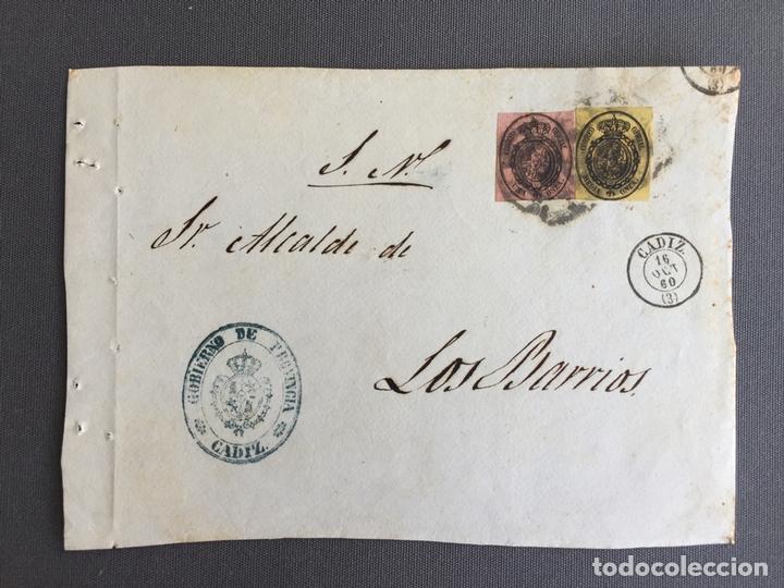Sellos: LOTE DE 3 FRONTALES DE CARTAS SOBRES DE LOS BARRIOS , CADIZ 1860 , AL SR. ALCALDE - Foto 3 - 173065387
