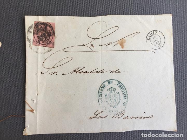 LOTE DE 3 FRONTALES DE CARTAS SOBRES DE LOS BARRIOS , CADIZ 1860 , AL SR. ALCALDE (Sellos - España - Isabel II de 1.850 a 1.869 - Cartas)