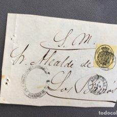 Sellos: LOTE DE 3 FRONTALES DE CARTAS SOBRES DE LOS BARRIOS , CADIZ 1860 , AL SR. ALCALDE . Lote 173065582
