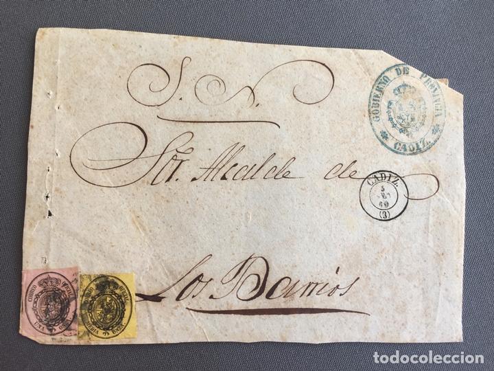 Sellos: LOTE DE 3 FRONTALES DE CARTAS SOBRES DE LOS BARRIOS , CADIZ 1860, 1861 , AL SR. ALCALDE - Foto 2 - 173065654