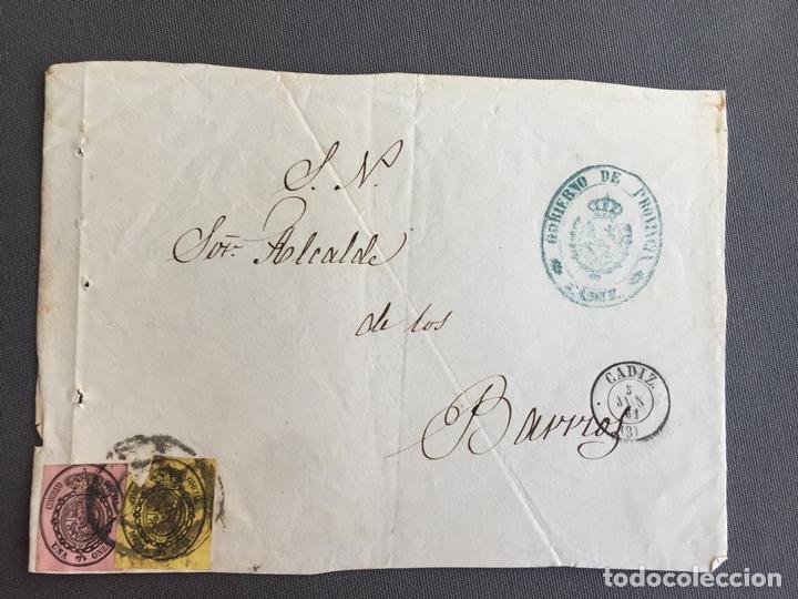 Sellos: LOTE DE 3 FRONTALES DE CARTAS SOBRES DE LOS BARRIOS , CADIZ 1860, 1861 , AL SR. ALCALDE - Foto 3 - 173065654