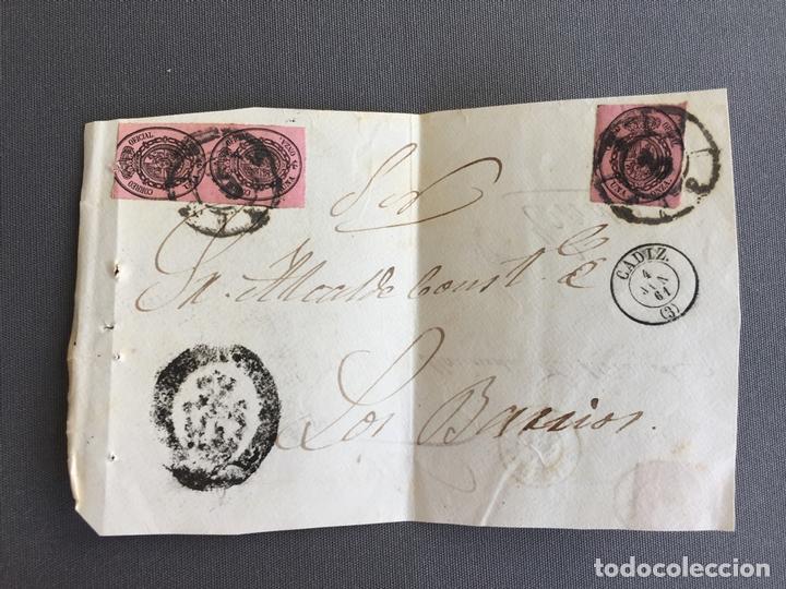 Sellos: LOTE DE 3 FRONTALES DE CARTAS SOBRES DE LOS BARRIOS , CADIZ 1861 , AL SR. ALCALDE - Foto 2 - 173065710