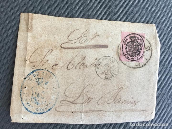 Sellos: LOTE DE 3 FRONTALES DE CARTAS SOBRES DE LOS BARRIOS , CADIZ 1861 , AL SR. ALCALDE - Foto 3 - 173065710