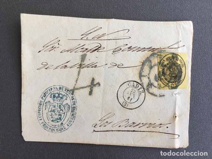 Sellos: LOTE DE 3 FRONTALES DE CARTAS SOBRES DE LOS BARRIOS , CADIZ 1861 , AL SR. ALCALDE N. 3 - Foto 2 - 173065944